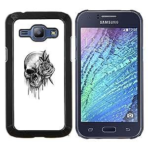 YiPhone /// Prima de resorte delgada de la cubierta del caso de Shell Armor - cráneo subió rodillo de tinta de death metal de la roca - Samsung Galaxy J1 J100
