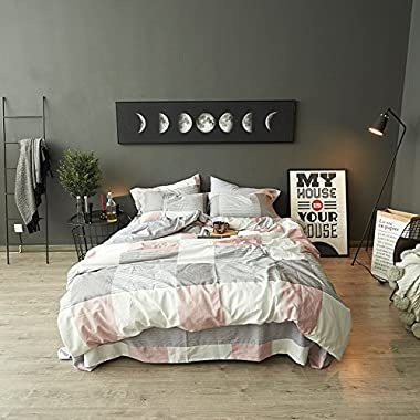 TheFit Paisley Textile Bedding for Young Adult W38 Light Pink Grey Duvet Cover Set 100% Cotton, Twin Queen King Set, 3-4 Pieces (Queen)
