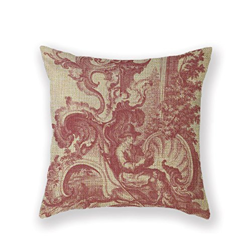 Customized Standard New Arrival Pillowcase Country Red Williamsburg Toile Throw Pillow 18 X 18 Square Cotton Linen Pillowcase Cover Cushion