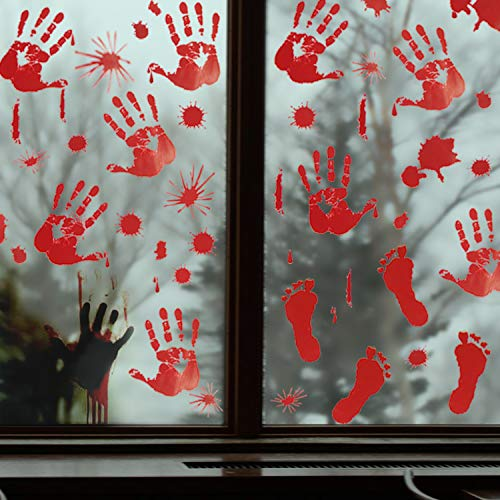 ( Pawliss Halloween Window Clings Decals Decor, Bloody Handprint Footprint Horror Bathroom Zombie Party Decorations Supplies, 12-Inch by 17-Inch Sheet, 105 Pcs)