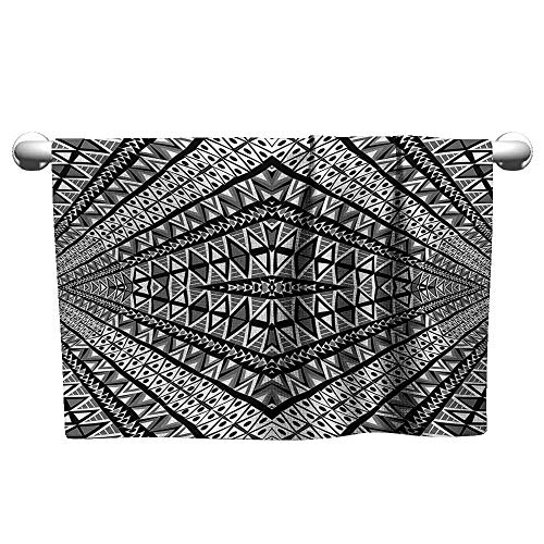 (alisoso Psychedelic,Hand Towels Geometric Dimension Ornament Motif with Triangle Diamond Forms Oriental Image Hotel Pool Towels Black White W 20