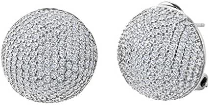 18K White / Gold Over Sterling Silver Pave Cubic Zirconia Half Ball Earrings