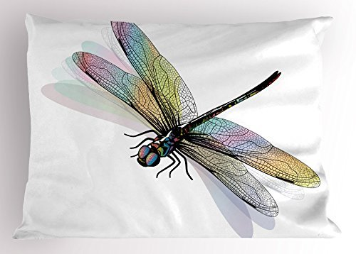 Lace Pillowcase Standard (TINA-R Dragonfly Pillow Sham, Shady Dragonfly Pattern with Ornate Lace Style Spiritual Beauty Wings Design, Decorative Standard Size Printed Pillowcase, 24 X 16 Inches, Multicolor)