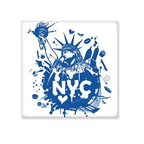 80%OFF New York City America Statue of Liberty Blue Pattern Ceramic Bisque Tiles for Decorating Bathroom Decor Kitchen Ceramic Tiles Wall Tiles