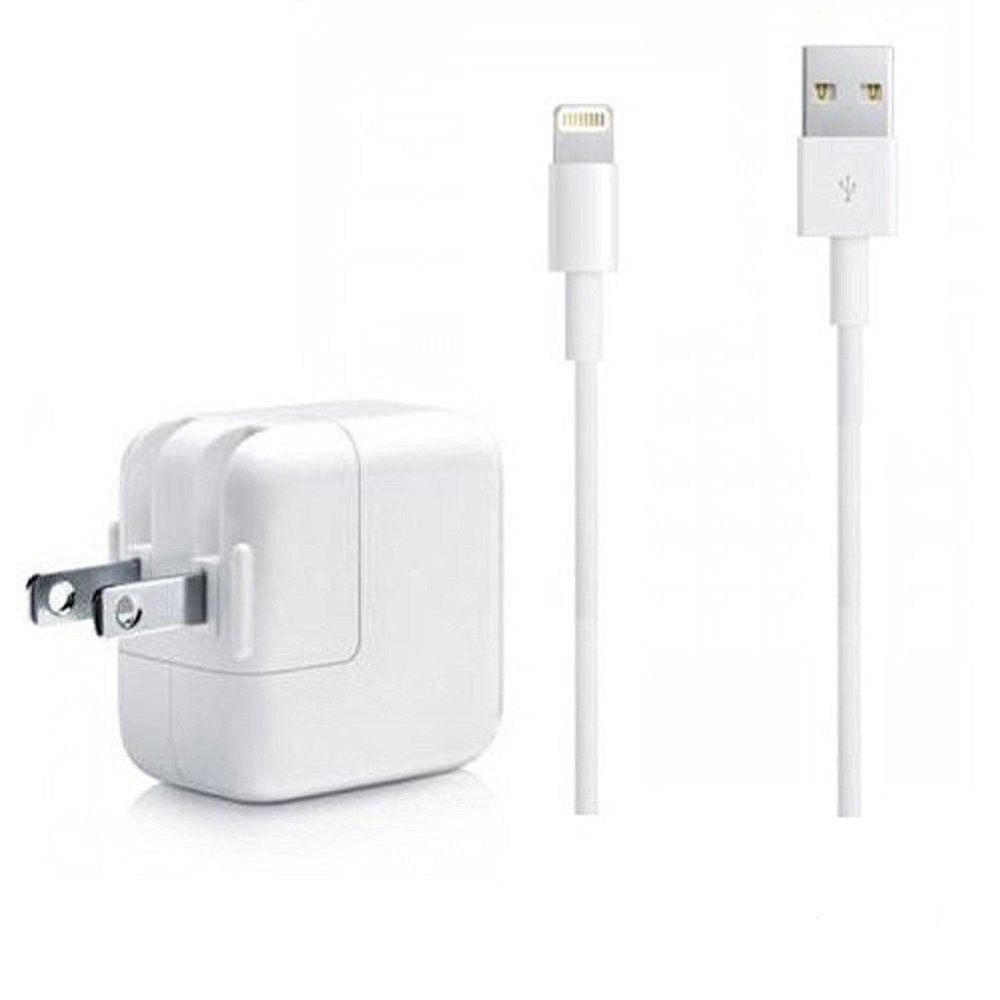 iPad Charger, iPhone Charger, 2.4A 12W USB Wall Portable Travel Plug and 6Feet Lightning Cable for iPhone X/8/8Plus/7/7Plus/6s/6sPlus/6/6Plus/SE/5s/5/5c/iPad 4/Mini/Air/Pro/iPod Bundle Pack
