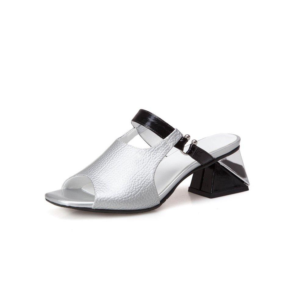 Leder, Fisch Mund, Grobe Ferse Sandalen, Sommer, Offene Zehe, Hausschuhe Damenschuhe (mit Houml;he: 5cm)  35 EU Silber
