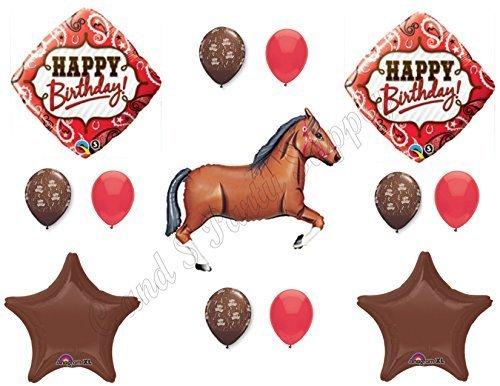 BROWN HORSE & BANDANA Happy Birthday Balloons Decoration Supplies Western Rodeo