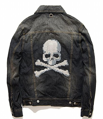 Easy Mens Fashion Skull Embroidery Solid Buttons Washing Denim Jacket M