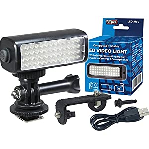 VidPro Mini LED M52 Video Light Kit for Action Cameras Camcorders and Phones