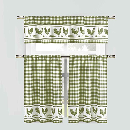 - Sage Green 3 Piece Window Curtain Set: Gingham Check and Rooster Design