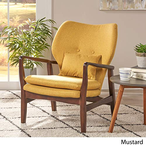 Christopher Knight Home 304780 Ventura Mid Century Modern Fabric Club Chair, Mustard - 3