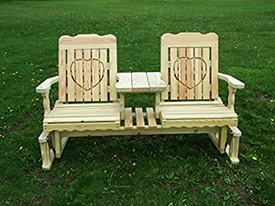 5 Foot Pressure Treated Pine Designs Outdoor Hearts Cutout Settee Glider