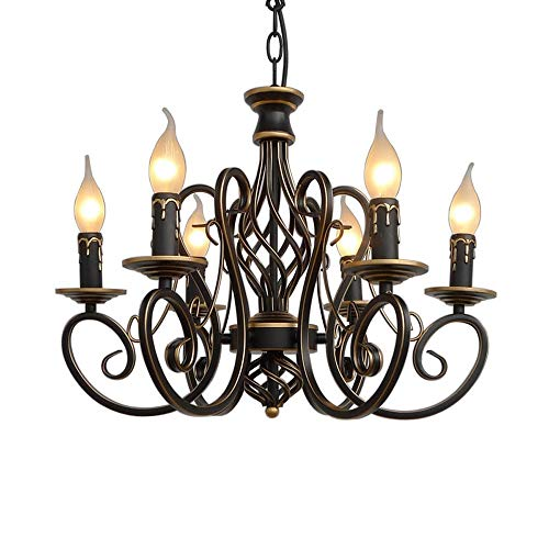 Wrought Iron Six Light Chandelier - XAJGW Rustic Chandelier for Dinning Room, Farmhouse Candle Chandelier,6-Light Rustic Wrought Iron Light Fixtures for Dinning Living Room Bedroom,6 x E14 Candelabra Socket Base