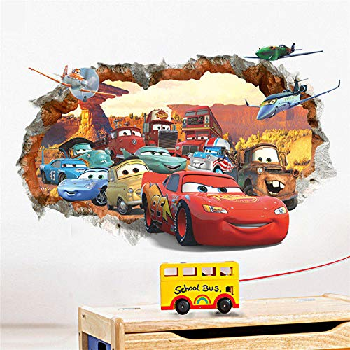 Wall Stickers for Kids 3D Broken Wall Decor Decals for Boys Bedroom Self Adhesive Kids Room Wallpaper Cartoom Cars Poster Mural McQueen Wall -