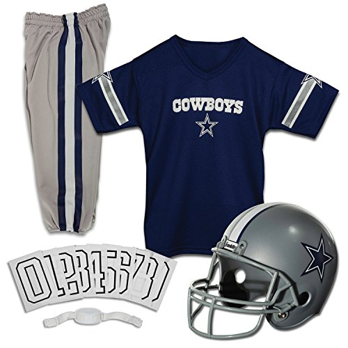 Dallas Cowboys Youth Uniform - Franklin Sports Deluxe NFL-Style Youth Uniform - NFL Kids Helmet, Jersey, Pants, Chinstrap and Iron on Numbers Included - Football Costume for Boys and Girls