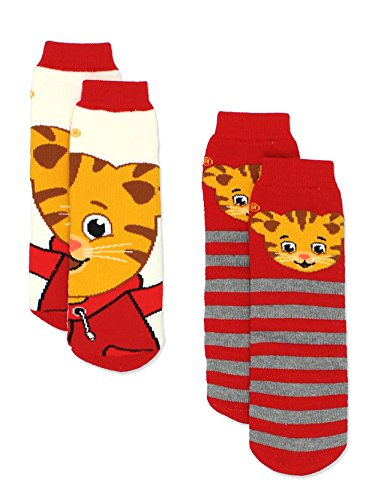 Daniel Tiger Boys Girls 2 pack Slipper Socks with Grippers (Small / Medium, Red/Multi) -