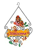 Decorative Glass and Metal Butterfly Welcome Sign