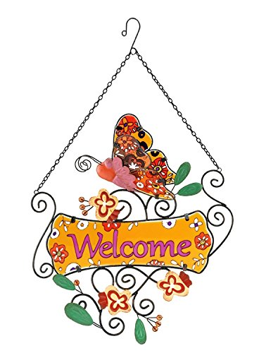 Regal Art Decorative Glass and Metal Butterfly Welcome Sign