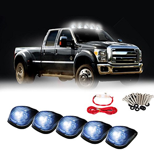 2005 Smoked Led (Carrep Smoked Cab Marker Top Roof Side Marker Light Lamps W/9 Super White LED Bulbs (5pcs Smoked Cab+ Wiring Pack))