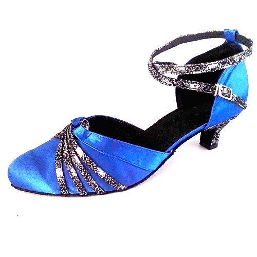 T.T-Q Zapatos para Salón de Baile para Mujer Tacón Satinado Upper Dance Royal Blue Sandalias Latinas Salsa Jazz Tango Swing Practice Indoor Performance Azul real