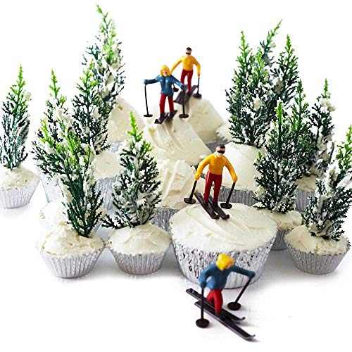 Skier Pine Tree Cupcake Topper Display Kit 6 Skier Toppers 12 Pine Trees Novelties 30 Foil Baking Cups]()