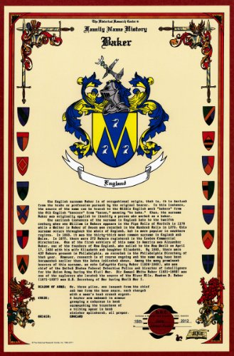 Baker Coat of Arms/Crest and Family Name History, meaning & origin plus Genealogy/Family Tree Research aid to help find clues to ancestry, roots, namesakes and ancestors plus many other surnames at the Historical Research Center Store (Surname History)