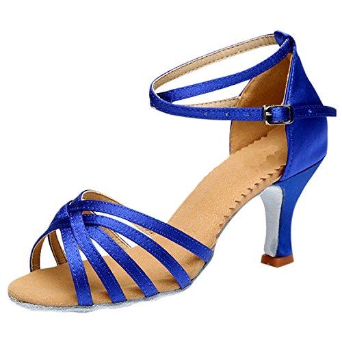 Azbro Mujer Zapato Baile Latín Correa Cruzada Puntera Abierta Oscuro Color Piel