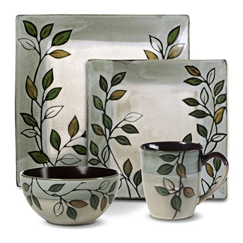 Pfaltzgraff Rustic Leaves Square Dinnerware Set (32 Piece)