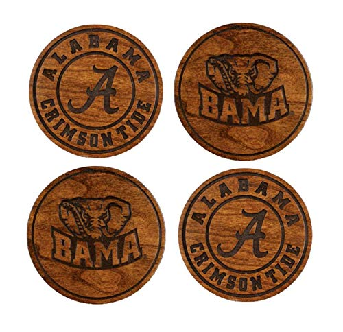University of Alabama Crimson Tide - Wood Coasters Variety Pack - Made in USA