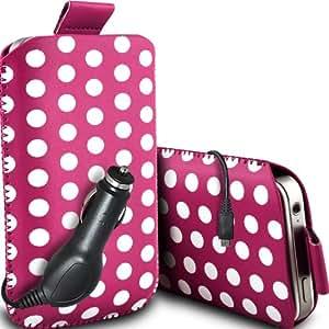 ONX3 Huawei Ascend P6S Leather Slip protectora Polka PU de cordón en la bolsa del lanzamiento rápido con 12v Micro USB cargador de coche (Hot Pink & White)