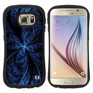 """Hypernova Slim Fit Dual Barniz Protector Caso Case Funda Para Samsung Galaxy S6 [Patrón Negro Noche estrella del fractal líneas oscuras""""]"""