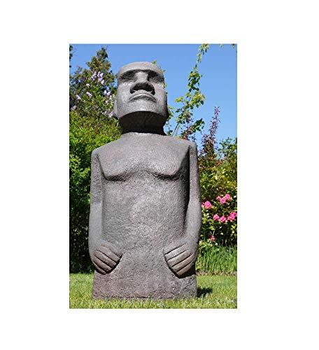 110cm Tall Easter Island Moai Man MGO Garden Sculpture Stone Effect Mottled Grey/Green/Brown