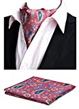 MOHSLEE Mens Romantic Wedding Luxury Banquet Cravat Ascot Self Necktie Hanky Set