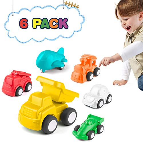 KidPal Car Toys for Toddllers Toys for 1 2 3 4 Years Old Boys Girls Early Educational Free-Wheel Cognitive Toy Vehicles Set of 6