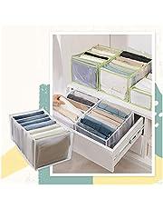 2Pcs Wardrobe Clothes Organizer, Jeans Compartment Storage Box Closet, Folding Clothes Drawer Mesh Separation Organizer, 7 Grids Washable Wardrobe Clothes Organizer for Pants Jeans