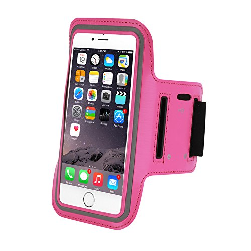 Refoss iPhone 6 Plus Armband Water Resistant Sports Running with Key Holder for iPhone 6, 6S, 5, 5C, 5S, Galaxy S7, S6, S5, Note 4 - Rose