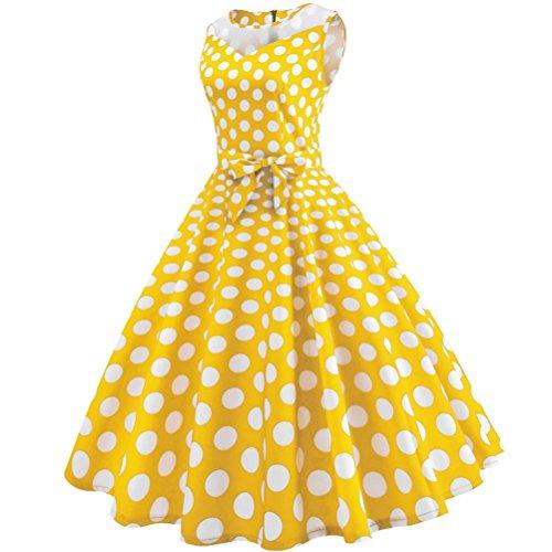 robe longues de soire audrey sans pour manches manches GreatestPAK en soie Robes imprime de mousseline Jaune bal femmes hepburn de q5tz7nR
