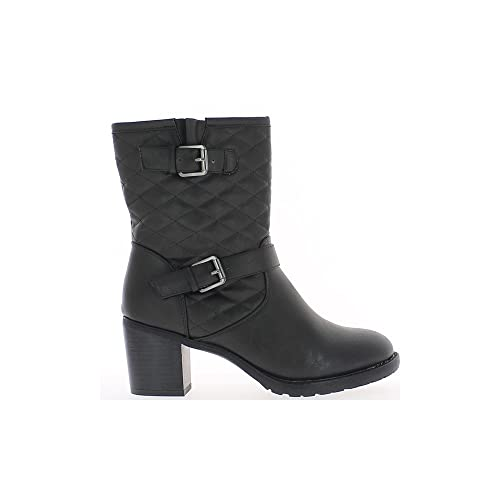 Botines negros grandes 7 cm del tallo del talón acolchado: Amazon.es: Zapatos y complementos