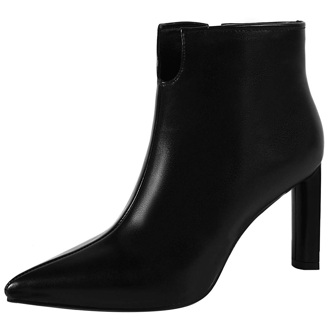 Black Eithy Women's Shhead Stiletto Ankle-high Zipper Leather Boots