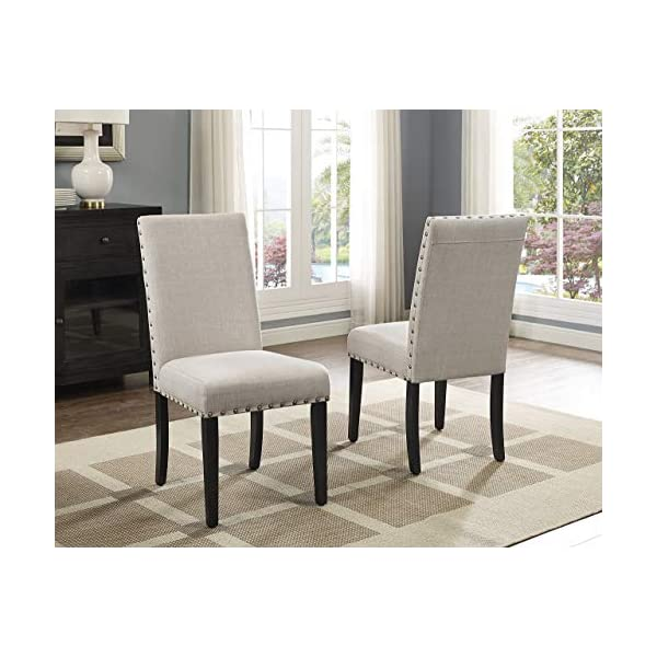 Roundhill Furniture Biony Fabric Dining Chairs with Nailhead Trim, Set of 2