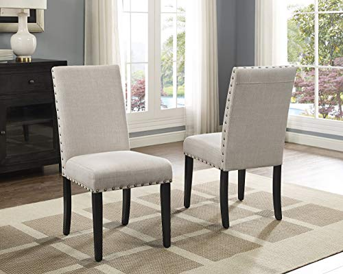 Roundhill Furniture Biony Tan Fabric Dining Chairs with Nailhead Trim, Set of 2 (Upholstered Tufted Dining Chairs)