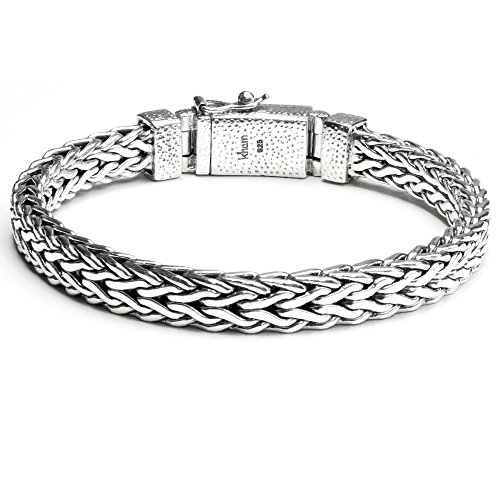 Chain Bracelet Silver Woven (8.6mm Men Braided Bracelet 925 Sterling Silver Woven Chain Bracelet Length 7.5,8,8.5,9 inches (9))
