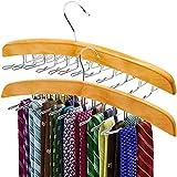 ANKO Tie Belt Hangers 2 Pack, Adjustable Rotating 24 Clip Scarf Racks Holder Hook for Homewares Closet Accessories Organizers Storage