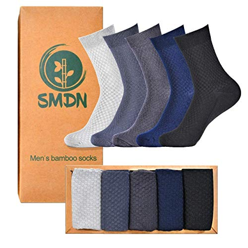 Bamboo Socks For Men and Women, Super soft Organic Cushioned, Odorless, Anti-Slip, Suitable for sensitive skin, 5 pairs in a Gift Box (Medium Size)