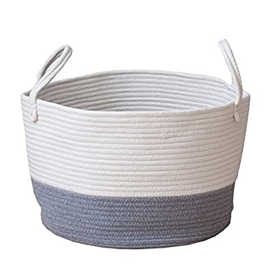 MSFGJZM 20×16 inches Extra Large Storage Baskets Cotton Rope Woven Nursery Bins Decorative (Gray white, M) - Three types available: Blue and white, Gray and white, Pink and white Made of cotton rope, safe and healthy, without any chemicals, safe and durable material, It's a reliable basket for nursery room Storing and moving conveniently, An aesthetic classy home decoration, no more clutters and messes in any corner of your room - living-room-decor, living-room, baskets-storage - 51rkYqUNh5L. SS400  -