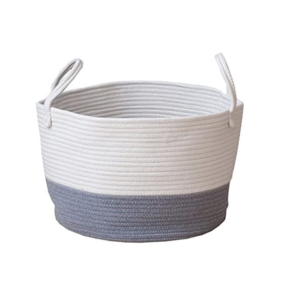 MSFGJZM 20×16 inches Extra Large Storage Baskets Cotton Rope Woven Nursery Bins Decorative (Gray white, M) - Three types available: Blue and white, Gray and white, Pink and white Made of cotton rope, safe and healthy, without any chemicals, safe and durable material, It's a reliable basket for nursery room Storing and moving conveniently, An aesthetic classy home decoration, no more clutters and messes in any corner of your room - living-room-decor, living-room, baskets-storage - 51rkYqUNh5L. SS570  -