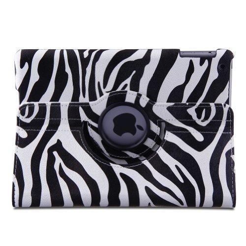 Generic Zebra Stripes PU Leather 360 Degree Rotating Stand S