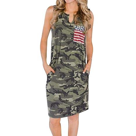 97d7e6397 Amazon.com: Toponly Hot Sale Women Sleeveless 4Th July Dress Camouflage USA  American Flag Long Dress Summer Beach Sundress: Arts, Crafts & Sewing