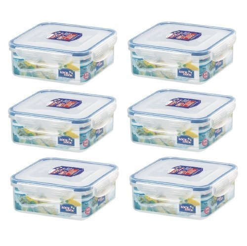 - (Pack of 6) LOCK & LOCK Airtight Square Food Storage Container 29.41-oz / 3.68-cup