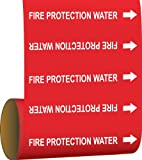 Brady 41462 Roll Form Pipe Markers, B-946, 8'' X 30', White On Red Pressure Sensitive Vinyl, Legend''Fire Protection Water''